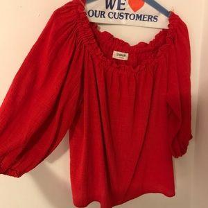 Sam & LaVi Red off the shoulder blouse